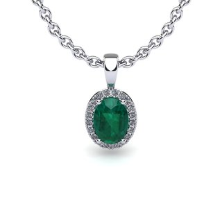 14k White Gold 0.90ct Oval Shape Emerald and Halo Diamond Necklace with 18-inch Chain