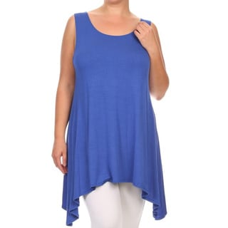 MOA Collection Plus Size Women's Solid Flowing Tank Top