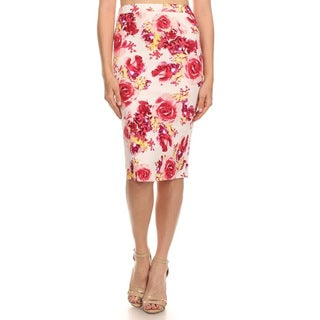 MOA Collection Women's Floral Rose Pencil Skirt