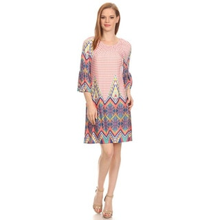 MOA Collection Women's Pink Multi-Color 3/4 Sleeve Border Dress