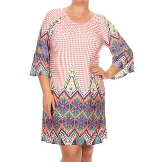MOA Collection Women's Plus Multicolor Border Dress