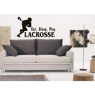Eat Sleep Play Lacrosse Wall Art Sticker Decal Brown