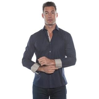 Isaac B. Solid Blue Long Sleeve Button Down Shirt