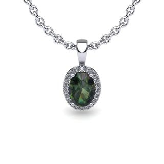 14k White Gold 1 1/2 TGW Oval Shape Mystic Topaz and Halo Diamond Necklace with 18-inch Chain