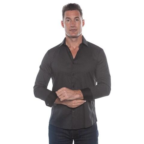 Isaac B. Black Polka Dot Long Sleeve Button Down Shirt