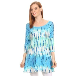 MOA Collection Women's Tie Dye 3/4 Sleeve Tunic