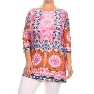 MOA Collection Plus Women's Pink Mandala Mixed Top