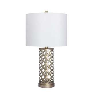 26-inch Moroccan Weave Metal Table Lamp in Muted Gold Finish