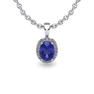 14k White Gold 1 1/2ct Oval Shape Tanzanite and Halo Diamond Necklace with 18-inch Chain
