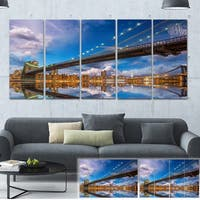 Designart 'Sunset Over Brooklyn Bridge' Cityscape Photo Large Canvas Print - Brown