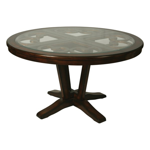 Round dining table with glass insert free shipping today for Kitchen table with insert