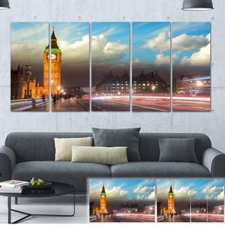 Designart 'Big Ben from Westminster Bridge' Cityscape Photo Large Canvas Print