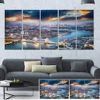 Designart 'Aerial View of London at Dusk' Cityscape Photo Large Canvas Print - Blue