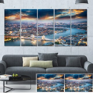 Designart 'Aerial View of London at Dusk' Cityscape Photo Large Canvas Print - Blue