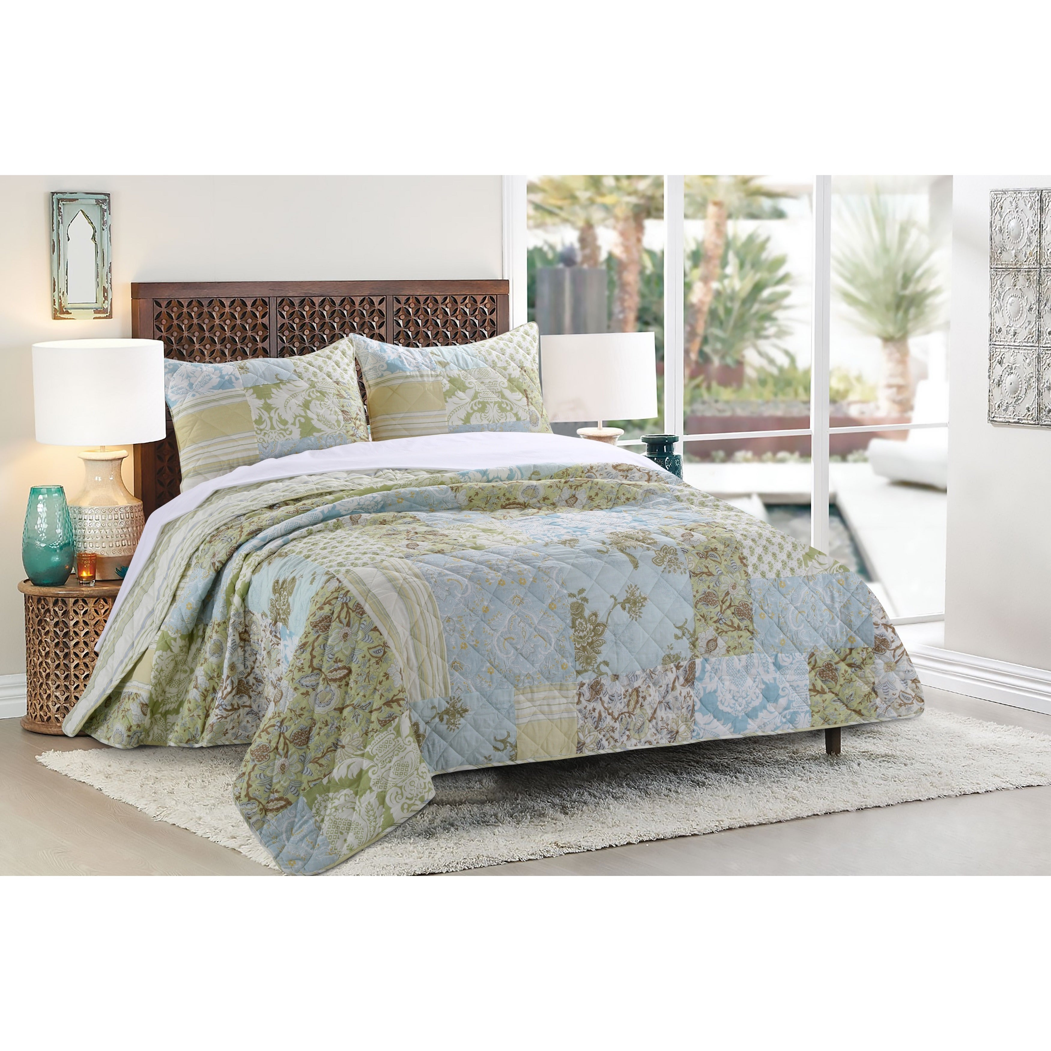Greenland Home Fashions Mallory Authentic Patchwork 3 Piece Quilt Set Multi Overstock 11658243