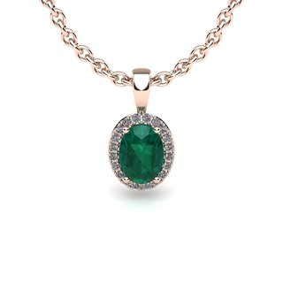14k Rose Gold 1 1/3ct Oval Shape Emerald and Halo Diamond Necklace with 18-inch Chain