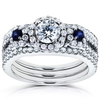 Annello by Kobelli 14k White Gold Sapphire and 1 1/4ct TDW Diamond Halo Three Stone Double Band Brid