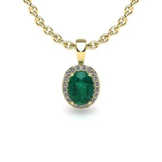14k Yellow Gold 1 1/3ct Oval Shape Emerald and Halo Diamond Necklace with 18-inch Chain