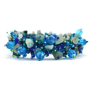 Handmade Stone and Bead Magnetic Caterpillar Bracelet - Aquamarine (Guatemala)