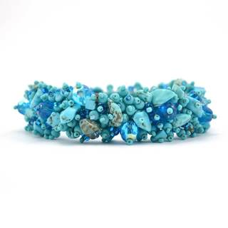 Handmade Stone and Bead Magnetic Caterpillar Bracelet - Turquoise (Guatemala)