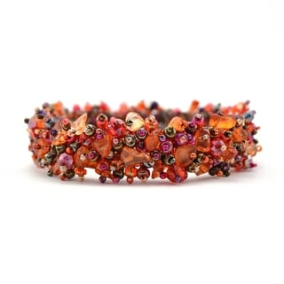 Handmade Stone and Bead Magnetic Caterpillar Bracelet - Merlot Multicolor (Guatemala)