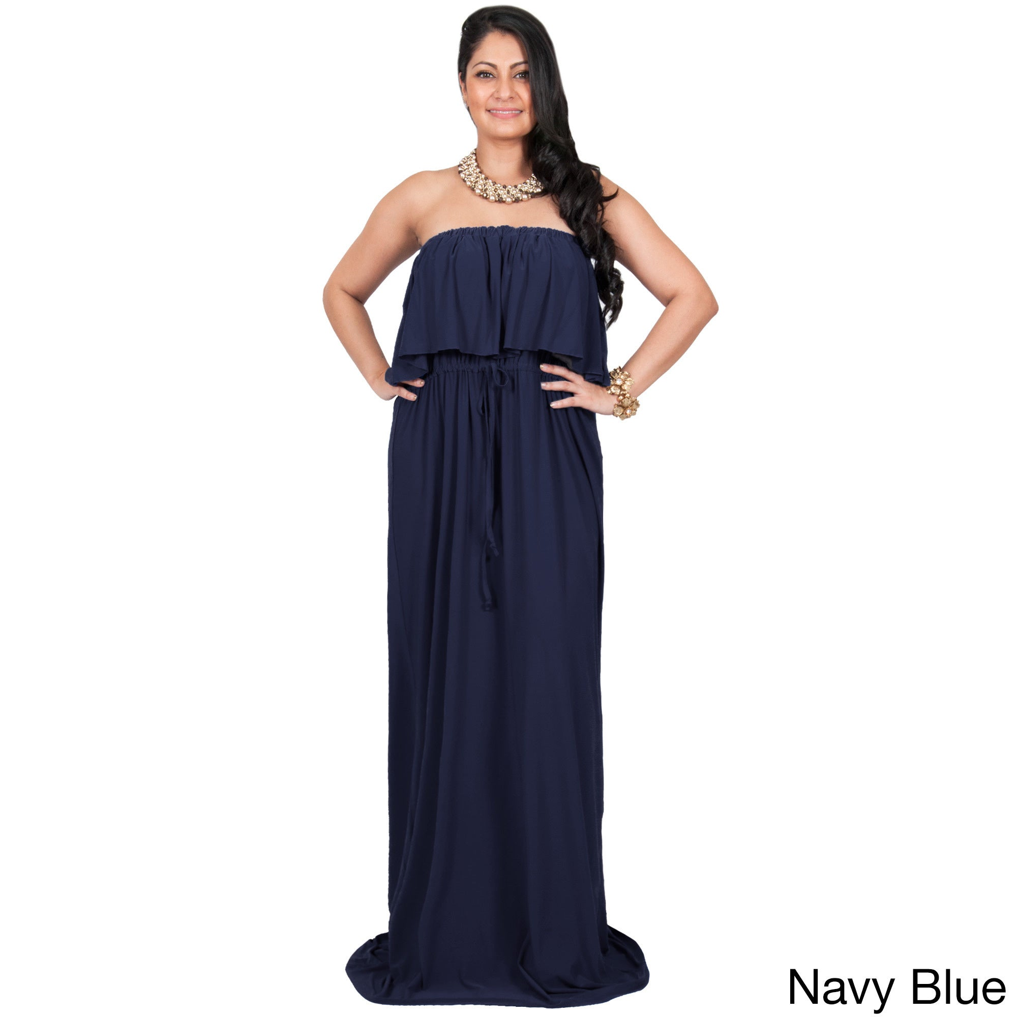 Details about KOH KOH Womens Plus Size Strapless Summer Flattering Maxi  Dress