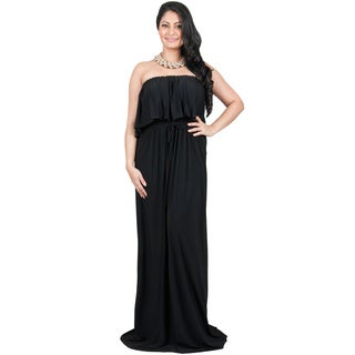 Koh Koh Women's Plus Size Strapless Shoulderless Sleeveless Summer Flattering Ruffled Maxi Dress