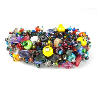 Handmade Stone and Bead Magnetic Caterpillar Bracelet - Beach Ball (Guatemala)