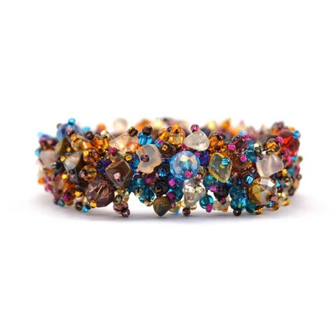 Handmade Stone and Bead Magnetic Caterpillar Bracelet - Earthy Multicolor (Guatemala)