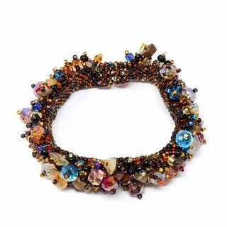 Handcrafted Stone and Bead Magnetic Caterpillar Bracelet - Earthy Multicolor (Guatemala)