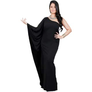 KOH KOH Women's Plus Size One Shoulder Single Sleeve Slimming Cocktail Gown Maxi Dress|https://ak1.ostkcdn.com/images/products/11658326/P18588674.jpg?impolicy=medium