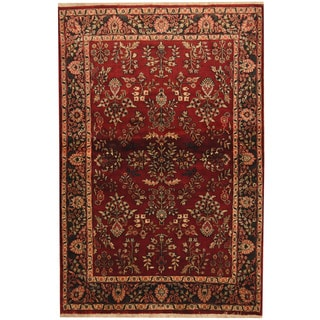 Herat Oriental Indo Hand-knotted Sarouk Red/ Black Wool Rug (4' x 6')