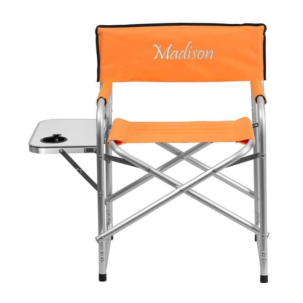Offex Embroidered Aluminum Folding Camping Chair With Table and Drink Holder