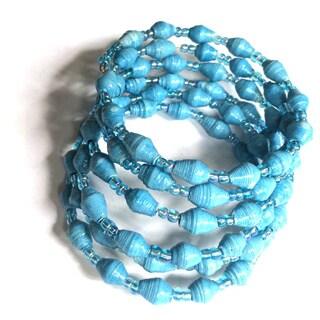Spiral Recycled Paper Blue Bracelet (Uganda)
