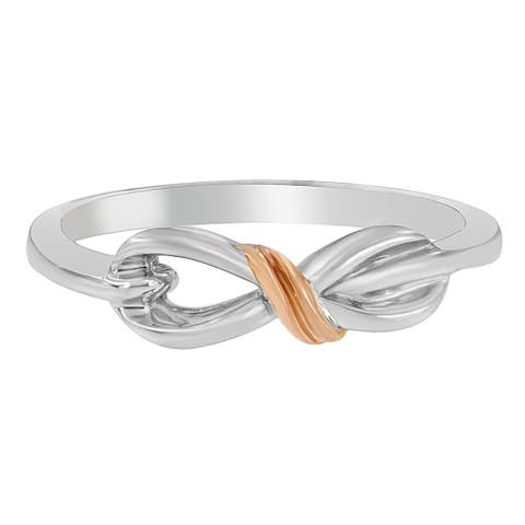 Sterling Silver Over Pink Gold Rhodium Infinity Ring.