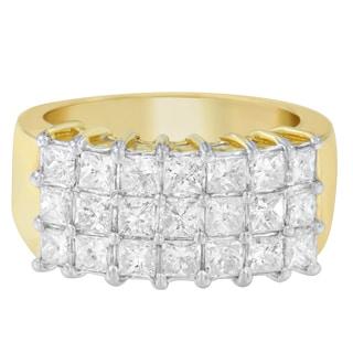 14k Yellow Gold 2ct TDW Princess-cut Diamond Ring (H-I, SI1-SI2)