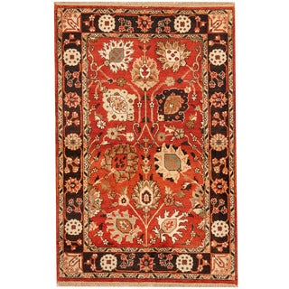 Herat Oriental Indo Hand-knotted Mahal Red/ Navy Wool Rug (4' x 6'1)