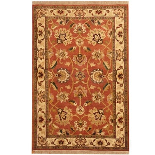 Herat Oriental Indo Hand-knotted Mahal Rust/ Ivory Wool Rug (4'2 x 6'2)