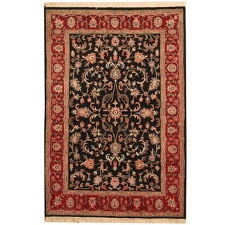 Herat Oriental Indo Hand-knotted Mahal Black/ Red Wool Rug (4' x 6')