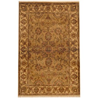 Herat Oriental Indo Hand-knotted Mahal Beige/ Ivory Wool Rug (4'1 x 6'2)