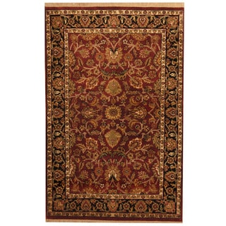 Herat Oriental Indo Hand-knotted Mahal Red/ Black Wool Rug (4' x 6')