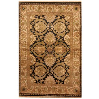 Herat Oriental Indo Hand-knotted Khorasan Black/ Ivory Wool Rug (4' x 6')