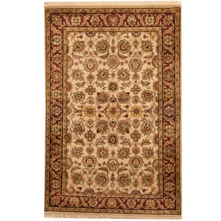 Herat Oriental Indo Hand-knotted Kashan Ivory/ Red Wool Rug (4' x 6'1)