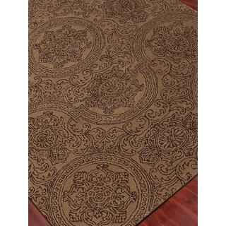 Hand-Tufted Ezekiel Camel Blended New Zealand Wool Area Rug, (2'x3')