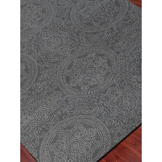 Hand-Tufted Ezekiel Silver Blue Blended New Zealand Wool Area Rug (2' x 3')