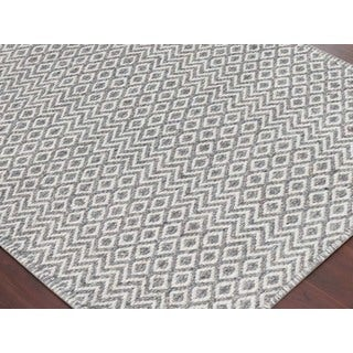Hand-Woven Broadmoor Silver Wool and Cotton Durry Area Rug - 2' x 3'