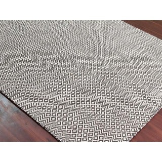 Hand-Woven Broadmoor Chocolate Brown Wool and Cotton Durry Area Rug - 2' x 3'