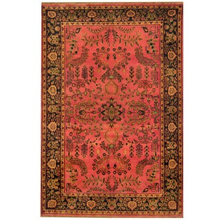 Herat Oriental Indo Hand-knotted Sarouk Rose/ Navy Wool Rug (4'1 x 6'1)