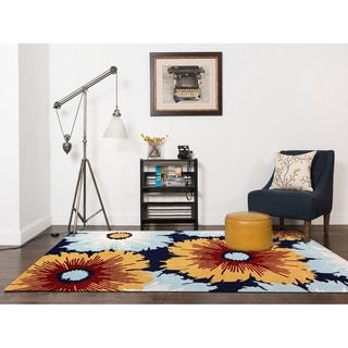 Hand-tufted  Navy Blue Blended New Zealand Wool Area Rug, (2'x3') - 2' x 3'