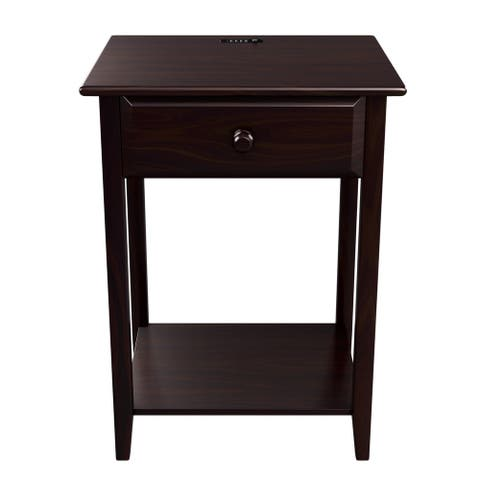 """Quality Furniture Espresso Night Stand with Drawer and USB Port (17"""" Wide)"""